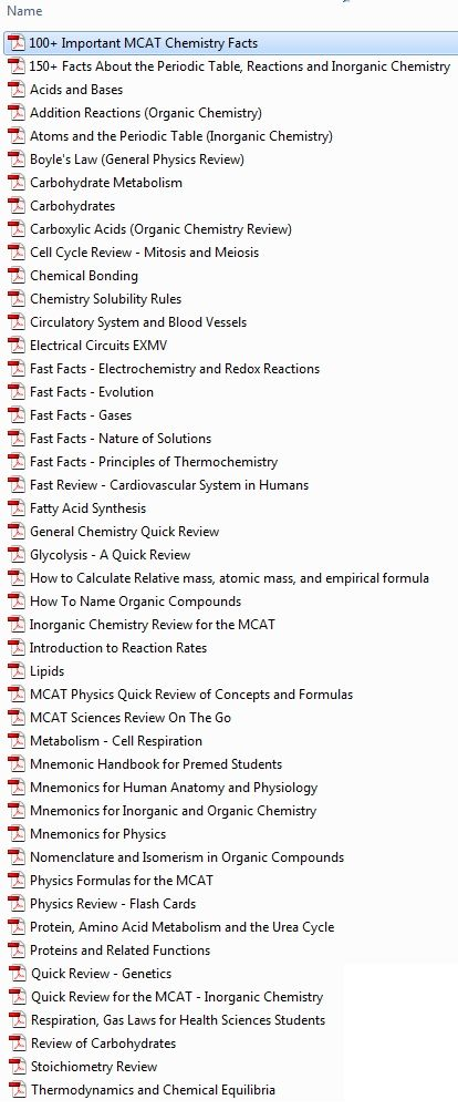 MCAT Study Notes MEGA PACK. From quick facts to mnemonics and everything in between you need to know for the MCAT.