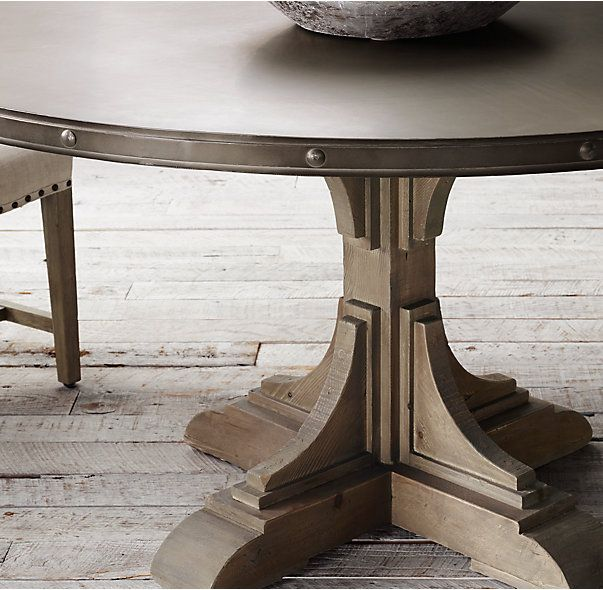 RH's 20th C. Reclaimed Pine & Zinc Trestle Round Dining Table:Our reclaimed-pine table bears the construction and design hallmarks of the early 20th century, when fine craftsmanship and simple forms were sought and prized.