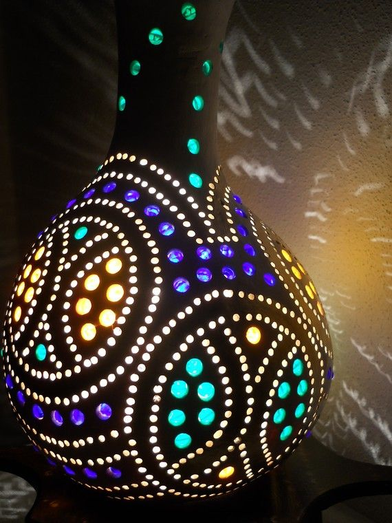 Awesome Gourd Lamp @studiotempera on etsy ~ I never thought to make a lamp form a gourd. How fun!