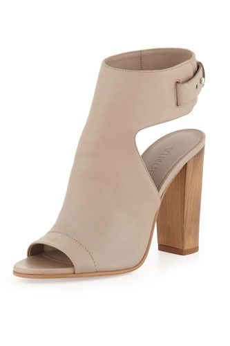 """Our friends at Refinery29 named the Vince Addie Open-Toe Buckle-Back Bootie one of their picks for the """"perfect spring boot"""". Get yours now!"""