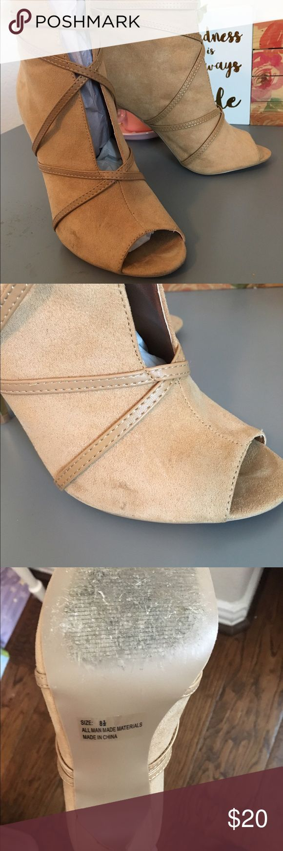 """Peep Toe Bootie ARA-78 Qupid Toffee Suede PU   MATERIAL: MAN- MADE, LEATHERETTE.  MEASUREMENT : HEEL HEIGHT: 4.25"""" (APPROX)  SOLE: SYNTHETIC  FITTING : TRUE TO SIZE Qupid Shoes Ankle Boots & Booties"""