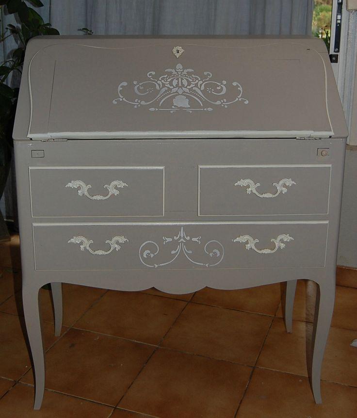 Apres satinelles gris de su de et ivoire pochoir for Furniture 0 interest