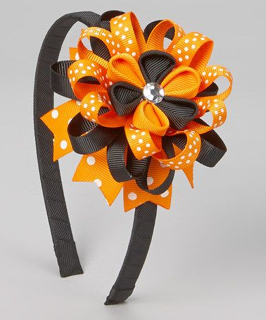 This Black & Orange Flower Ribbon Headband is perfect! #zulilyfinds
