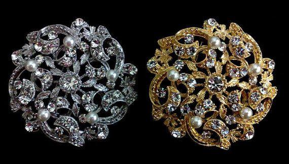 Vignes mariage broche, broche fleur, or Broach, broche d'argent, bijoux en strass, LUXE (1 pièce) €37.06
