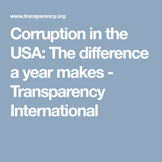Corruption in the USA: The difference a year makes - Transparency International
