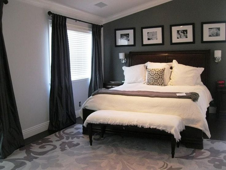 Charcoal Gray Master Bedroom Suite, love that rug!