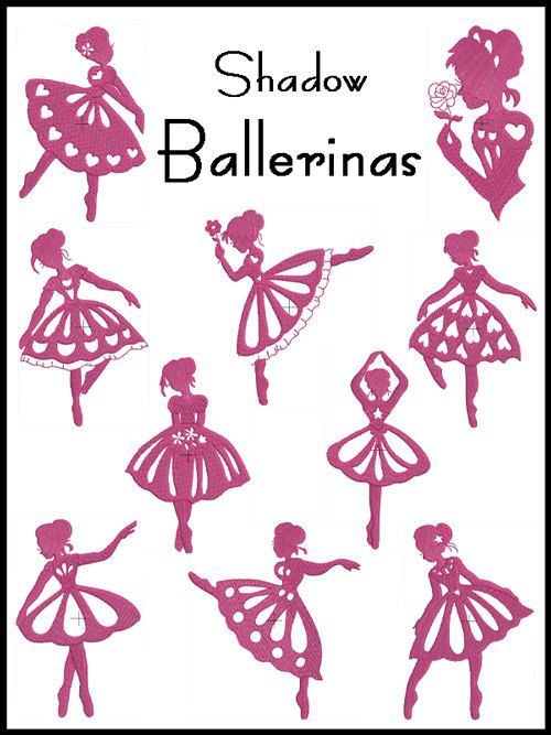 Set of 10  SHADOW BALLERINA  Machine Embroidery  by embroiderquilt, $9.00: