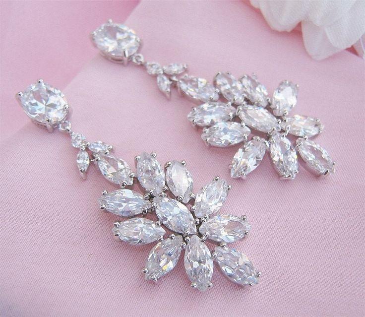 Best Seller! Crystal Bridal Earrings - Marquise Stones