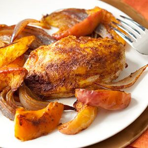 Spiced Chicken Breasts, Squash and Apples | Recipe