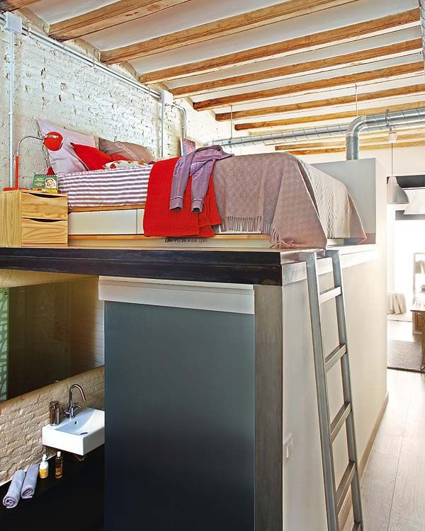 Making the most of small spaces - loft bed with bathroom underneath: Apartment Decor, Small Apartment, Loft Apartment, Apartment Design, Tiny Apartment, High Ceilings, Urban Loft, Small Spaces, Loft Beds