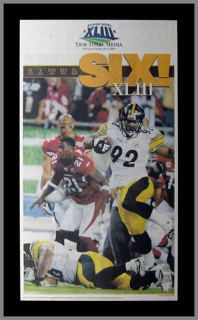Pittsburgh Steelers Wood Mounted Poster Print - Six! - Harrison - Super Bowl 43 XLIII