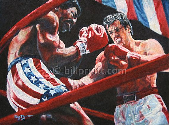 Sylvester Stallone Rocky Balboa Rocky Apollo art print 12x16 signed and dated Bill Pruitt #RockyBalboa #Creed