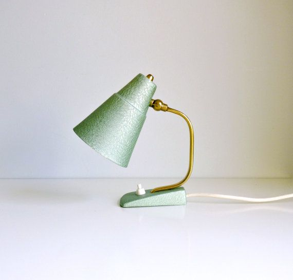 Mid Century Modern Table Lamp - Mint Green, Brass - Reading, Bedside Table - Mad Men, 1960's Home Decor, Lighting