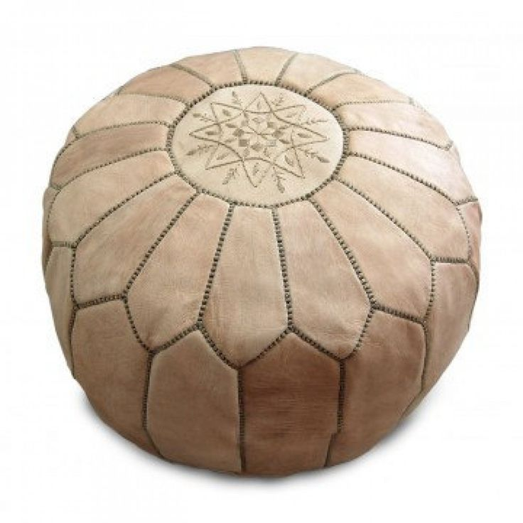 Marrakech Leather Pouf -  Natural  $179 NZD including delivery
