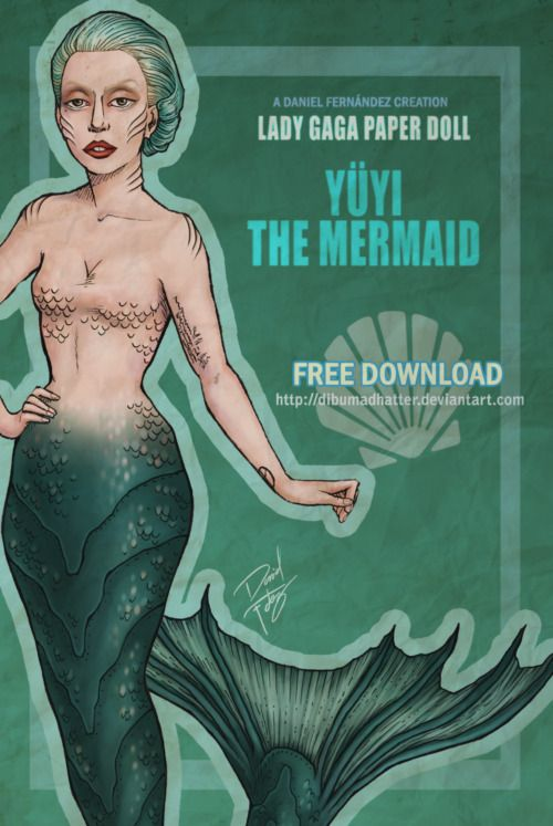 """thecolormonster:    [FREE DOWNLOAD]Lady Gaga Paper Doll: Yuyi the Mermaid  by Daniel Fernández     The package includes:* 4 different hairstyles (long blonde with red and blue wicks, short teal combed back, teal bob with bangs and teal curly short bob)* 4 different mermaid tails (from: """"Yoü and I"""" video, Visionaire Magazine photoshoot, """"The Edge Of Glory"""" perfomance at Le Grand Journal and """"Yoü and I"""" perfomance at Sydney Monster Hall)* Clothes and accesories  I hope you enjoy it!"""
