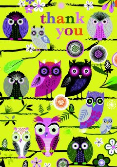Roger la Borde | 'Elegant Owls' thank you card by Roger la Borde
