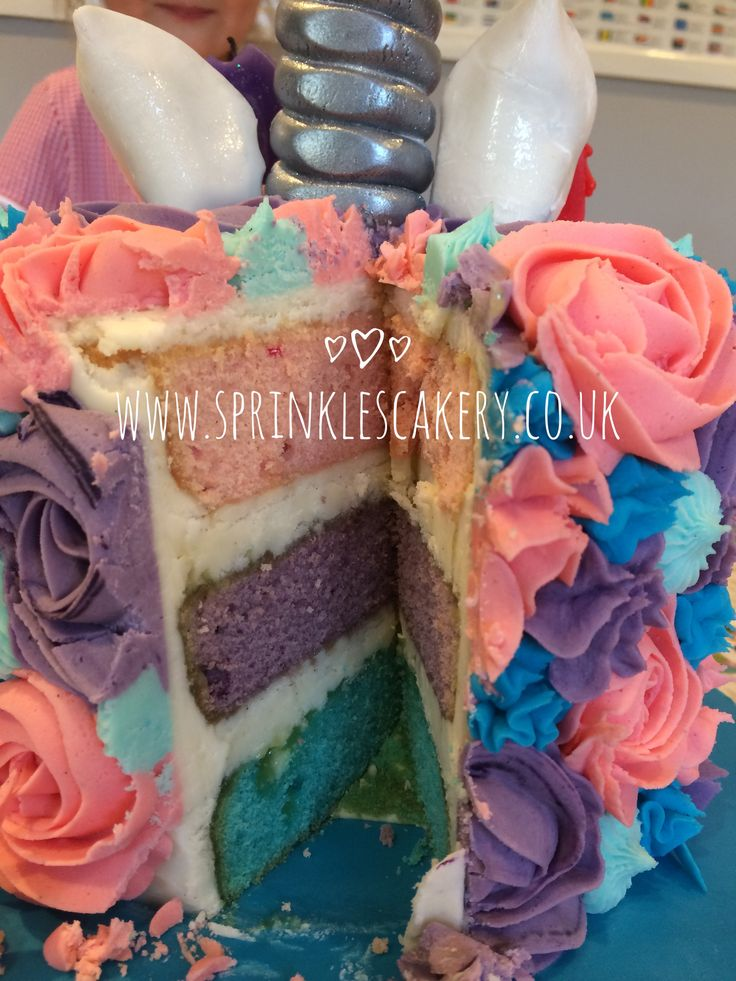 Although not strictly speaking a rainbow cake, it certainly has a colourful sponge centre. The inside layers, matching the piped buttercream flowers on the outside of this unicorn cake.