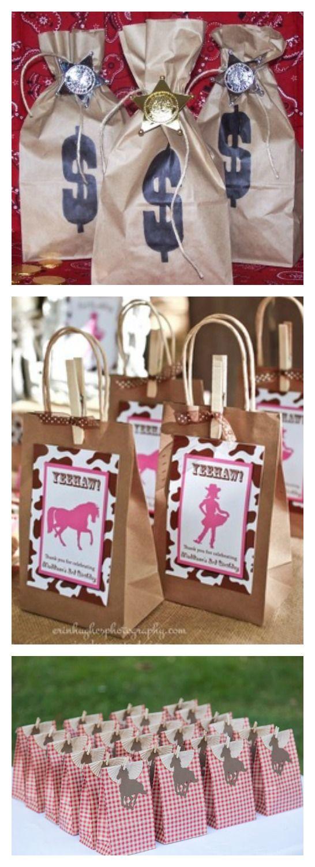 Anniversaire enfant thème cow-boy/cow-girl - Pochettes/sacs surprises pour les invités.