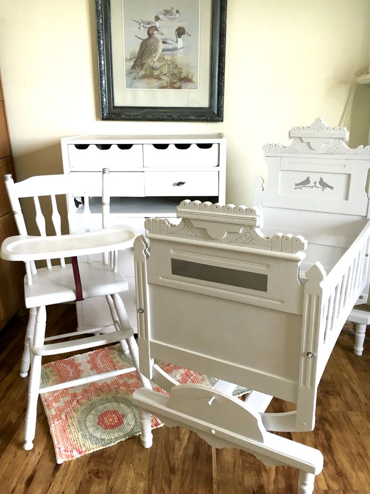 Victorian Rocking Cradle, Vintage Wooden High Chair, Vintage Dresser/ · Changing  Table ...
