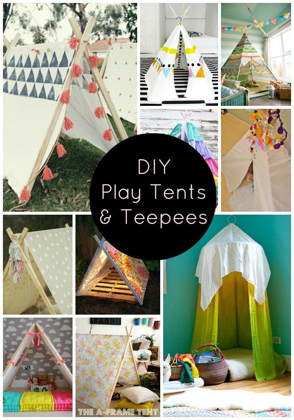 "Play tents and teepees are the stuff of my dreams childhood wonder. Seriously though, as a kid I relished any ""secret"" space that I could call my own and think of all the wonderful adventures that could happen in there! I really want one eventually…um for the kids…but they can get really expensive so here are ten of my favorite play tent and teepee DIYs: Be Still My Heart: 10 DIY Play Tents and Teepees (or ..."