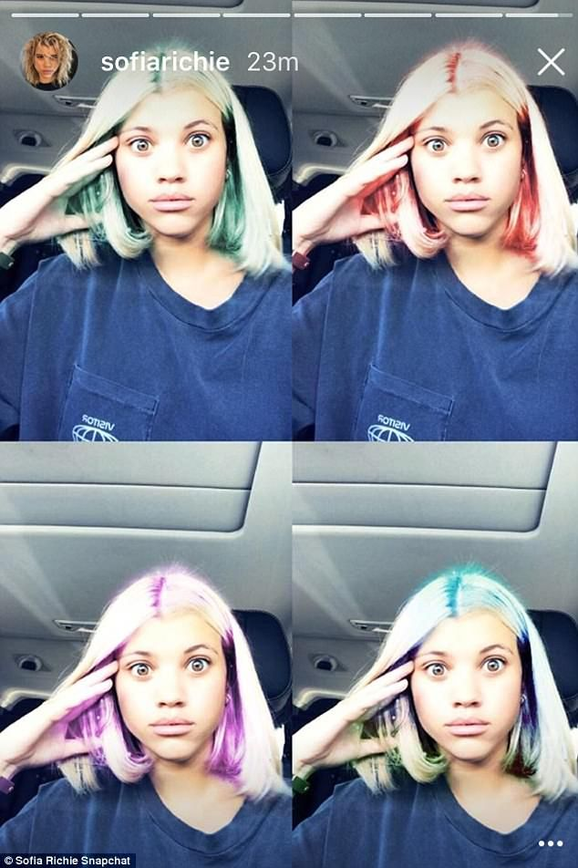 Goofing around: The daughter of Lionel Richie passed the time while playing with a number of colorful Snapchat filters