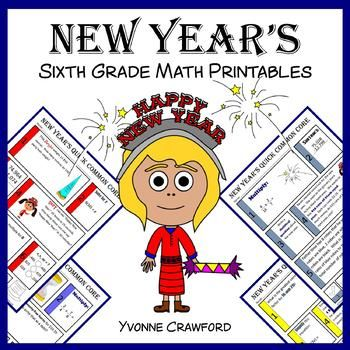 New Year's No Prep Common Core Math (sixth grade)
