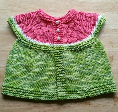 Free Knitting Pattern for Watermelon Baby Cardigan - Sleeveless summer baby cardigan with watermelon slice yoke with eyelets to look like seeds. One size to fit approx 0-3 months. Designed by Stitchylinda Designs.