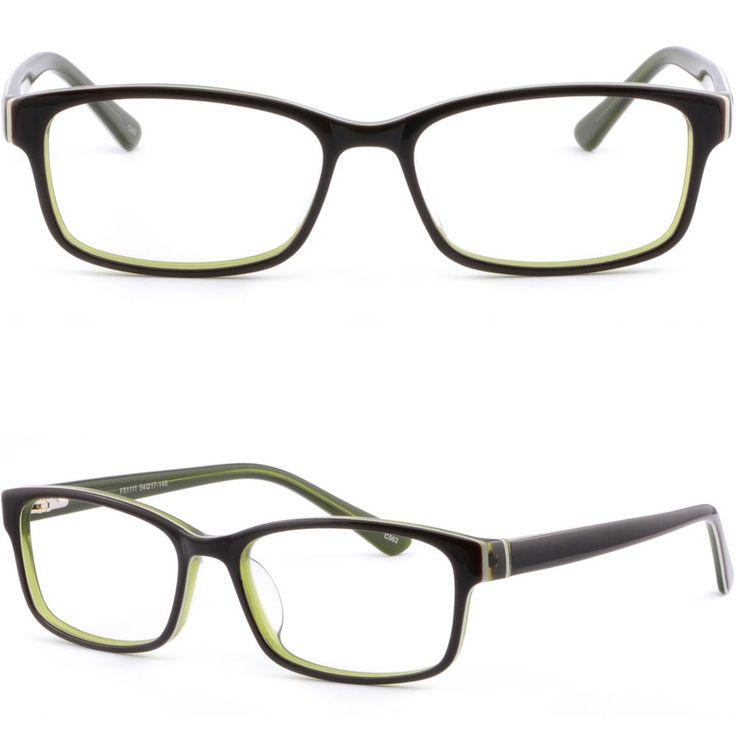 Black Green Acetate Plastic Women Frame Prescription Glasses Spring Loaded Hinge #Unbranded