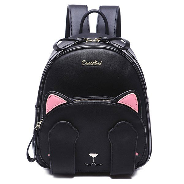$22.28 Cute Women's Backpack With Cat Pattern and Black Design