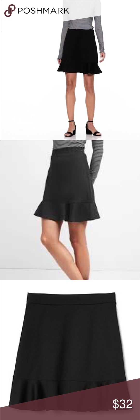 GAP Flippy Tulip Skirt-NEW with tags! GAP Flippy Tulip Skirt-NEW with tags! * Soft ponte knit. * Elasticized waist, invisible zip with hook and eye closure at back. * Ruffle hem. * 70% Polyester, 26% Rayon, 4% Spandex.  * Sits at the upper waist. * Tulip silhouette hugs your curves. * Hits at mid thigh. GAP Skirts Circle & Skater