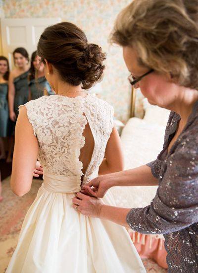 Lace back wedding gown.