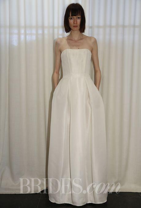 "Brides.com: Spring 2014 Wedding Dress Trend: Sleek and Modern. ""Alma"" strapless silk gazar A-line wedding dress with pleated skirt, Houghton  See more Houghton wedding dresses."