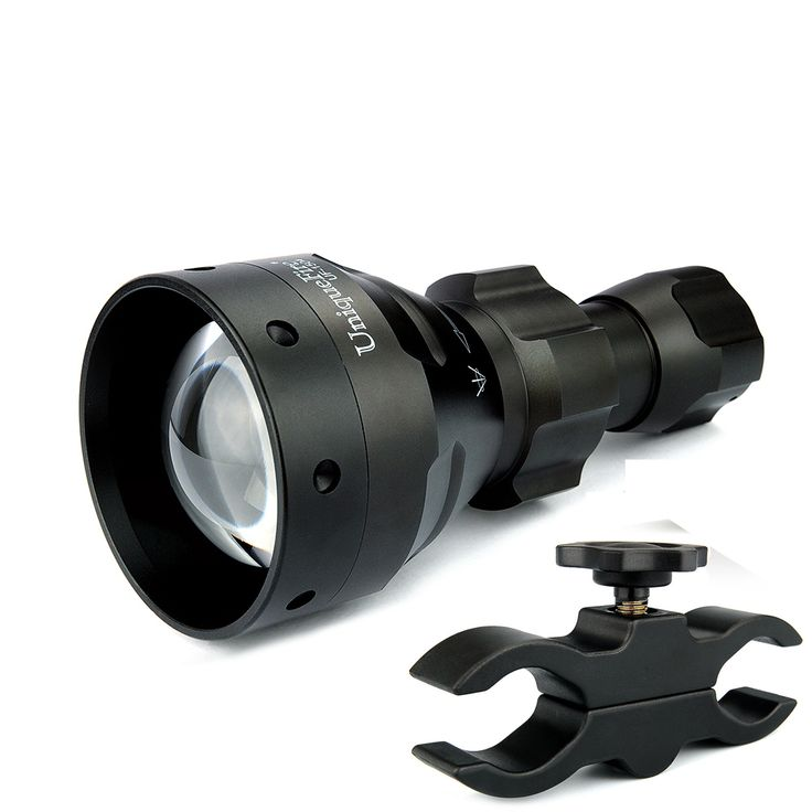 Design For Hunting Uniquefire 1504 Zoomable 850nm IR LED Flashlight 67mm Convex Lens Torch+Scope Mount 3 Modes Light For Outdoor