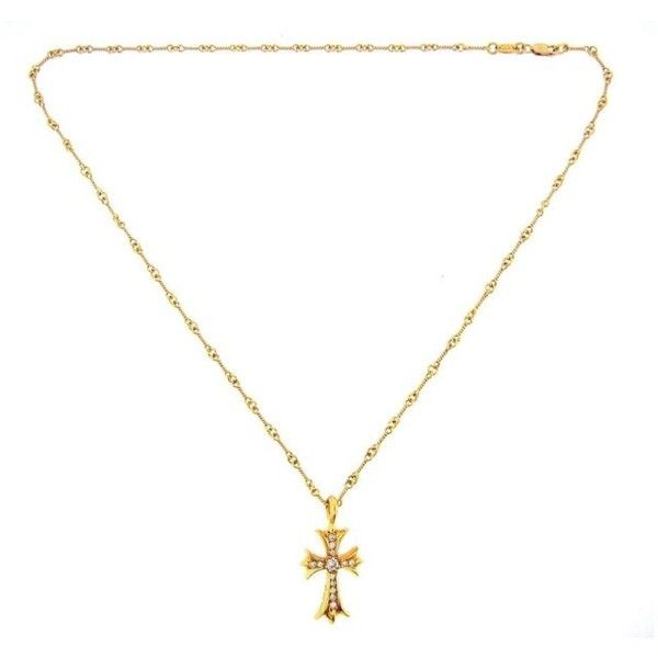 Pre-owned Chrome Hearts 22K Yellow Gold Diamond Cross Necklace ($9,995) ❤ liked on Polyvore featuring jewelry, necklaces, gold diamond jewelry, gold necklace, yellow gold cross necklace, diamond cross necklace and diamond jewelry
