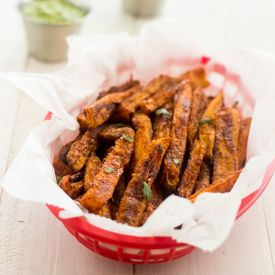Spicy Baked Sweet Potato Fries HealthyAperture.com