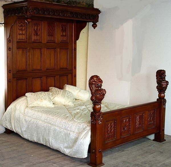 Mahogany Carved 5' Gothic Tudor Half Tester Bed with Lion Finials