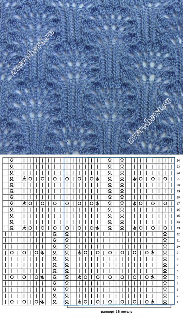 узор 227 ажурные кустики 2 | каталог вязаных спицами узоров