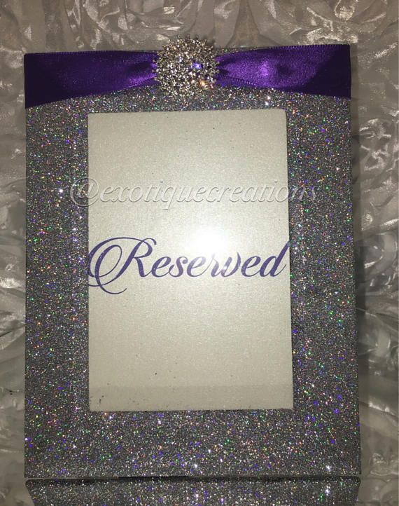 Silver Bling Table Numbers with Purple Ribbon | Anjis sweet 16 ...