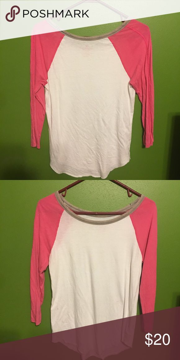 American eagle baseball tee Pink and white plain baseball tee. Very comfy! American Eagle Outfitters Tops Tees - Long Sleeve