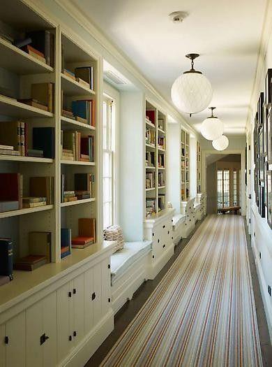 hallway of bookshelves