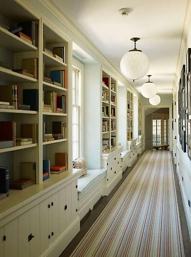 white hallway, lots of books, light..... loveIdeas, Bookshelves, Bookcases, Built In, Windows Seats, Long Hallways, Reading Nooks, Book Shelves, Window Seats