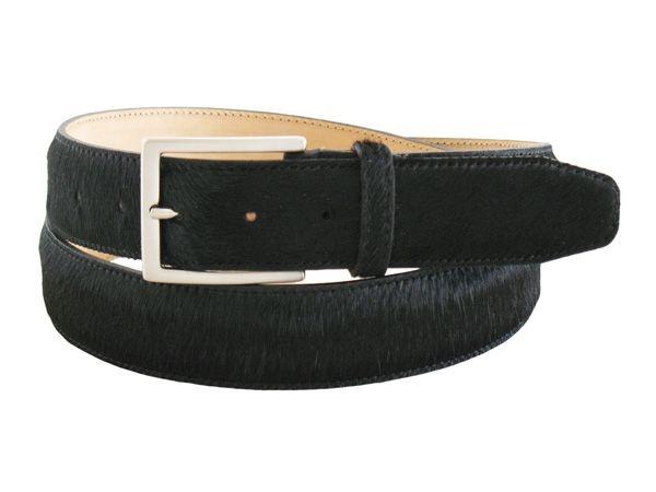 Black little horse leather men's belt