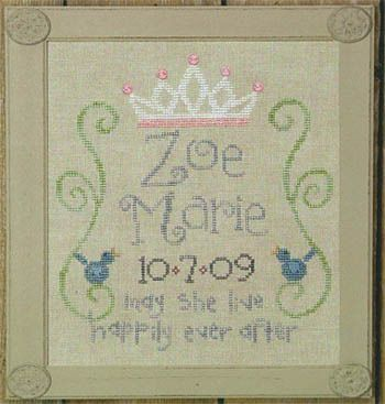 Happily Ever After - Cross Stitch Pattern. Almost done with Cassidy's. Getting the spacing right on the letters of the name is difficult.