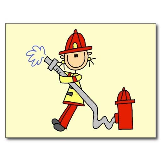 Sapeur-pompier avec des T-shirts et des cadeaux de Carte Postale