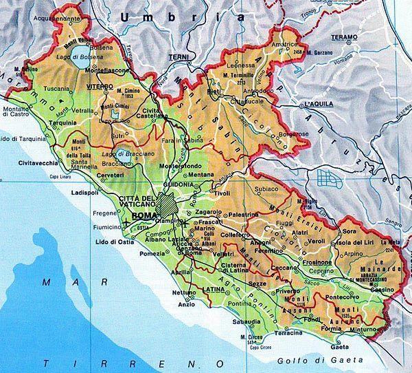 Map of Lazio   #TuscanyAgriturismoGiratola