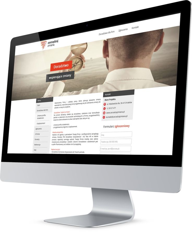 Layout strony internetowej Zarządzaj Zmianą