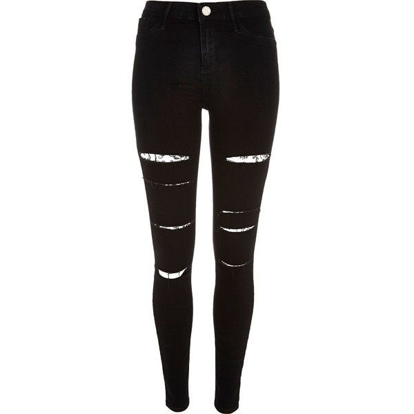 River Island Black super ripped Molly jeggings ($36) ❤ liked on Polyvore featuring pants, jeans, bottoms, trousers, sale, jeggings leggings, denim leggings, ripped jeggings, distressed jeggings and distressed leggings