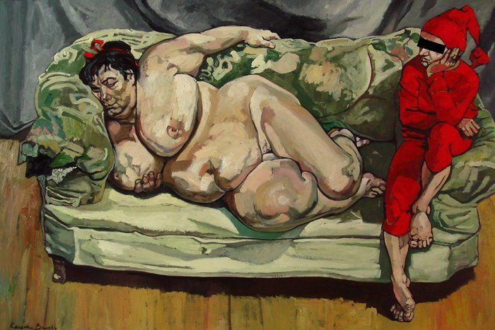 The Krasnals: Greetings from Benefits Supervisor Sleeping by Lucien Freud; 2008, canvas print, 150 x 100 cm