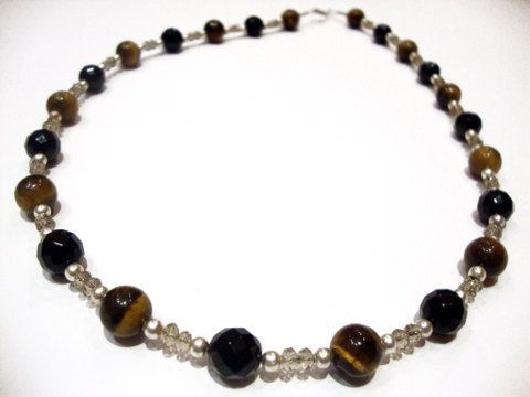 Natural Faceted Black Onyx Brown Tiger Eye Beads Necklace 55 cm 21.45 inches FREE SHIPPING on Etsy, 85,00€
