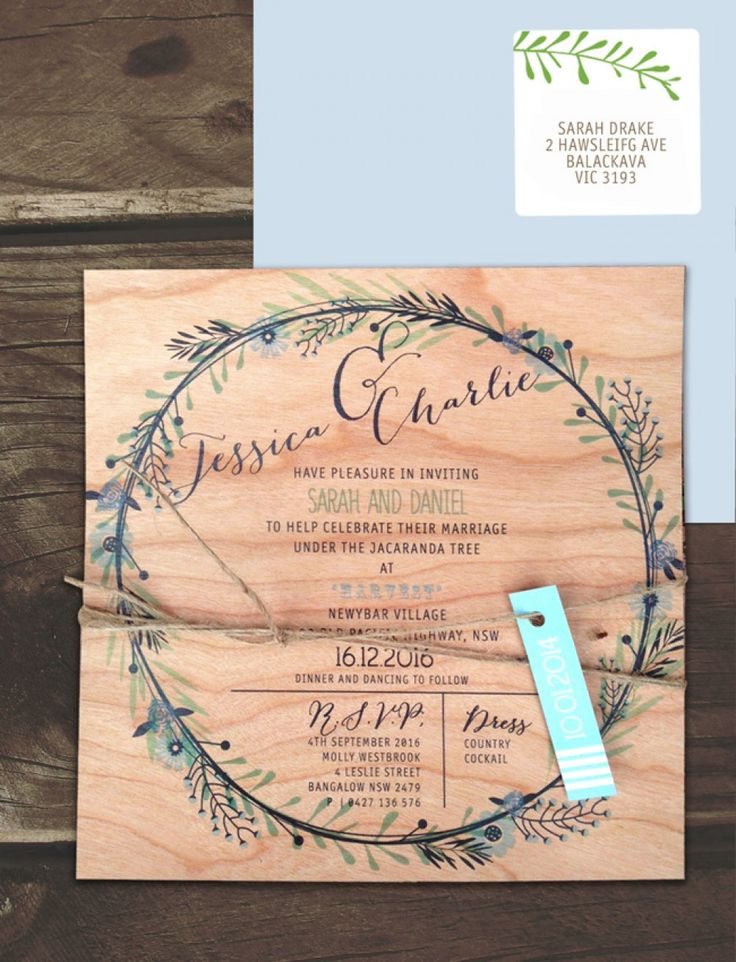 printed on wood circle of blossoms invitation online australia lilykiss wedding invitations australia - Wedding Invitations Online